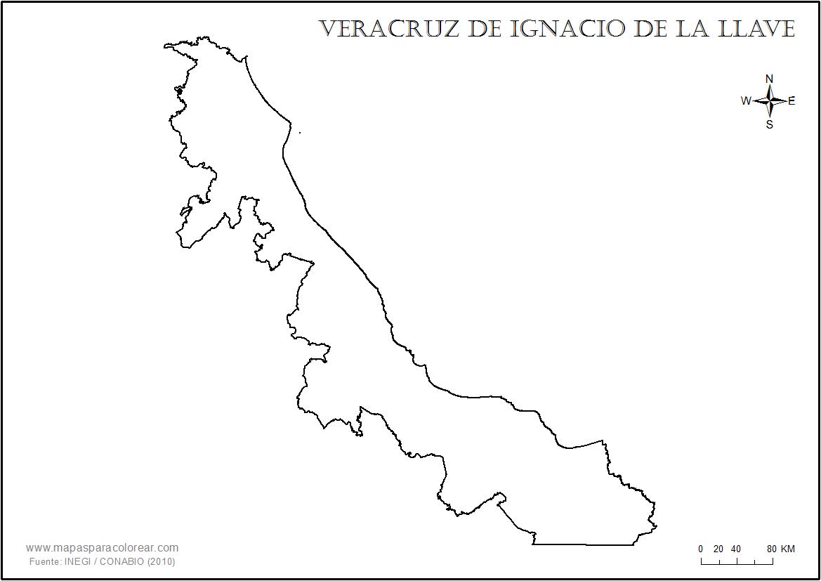 Mapas de Veracruz para colorear