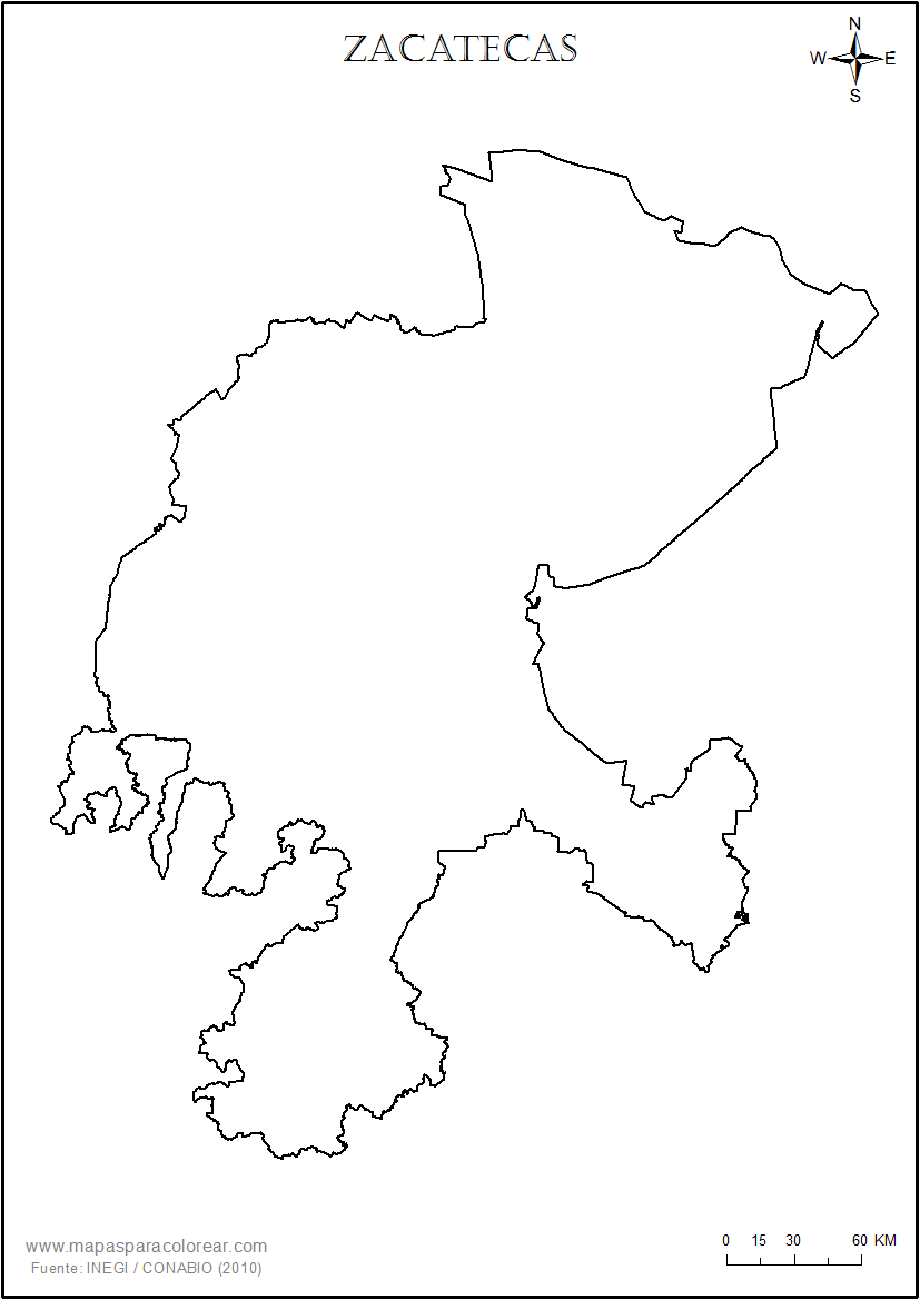 Mapas de Zacatecas para colorear