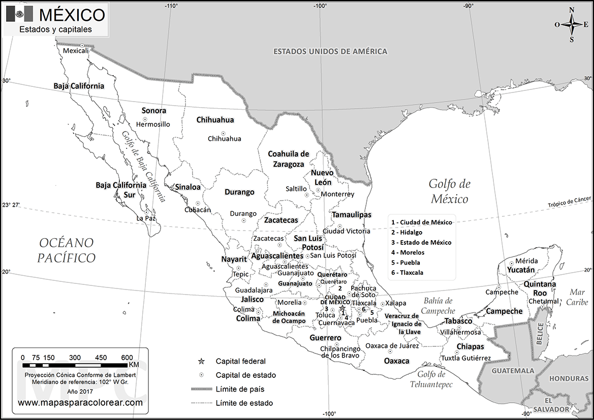 Mapas de México para colorear