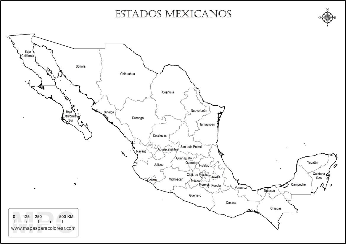 Estados De Mexico Mapa.Mapas De Mexico Para Colorear