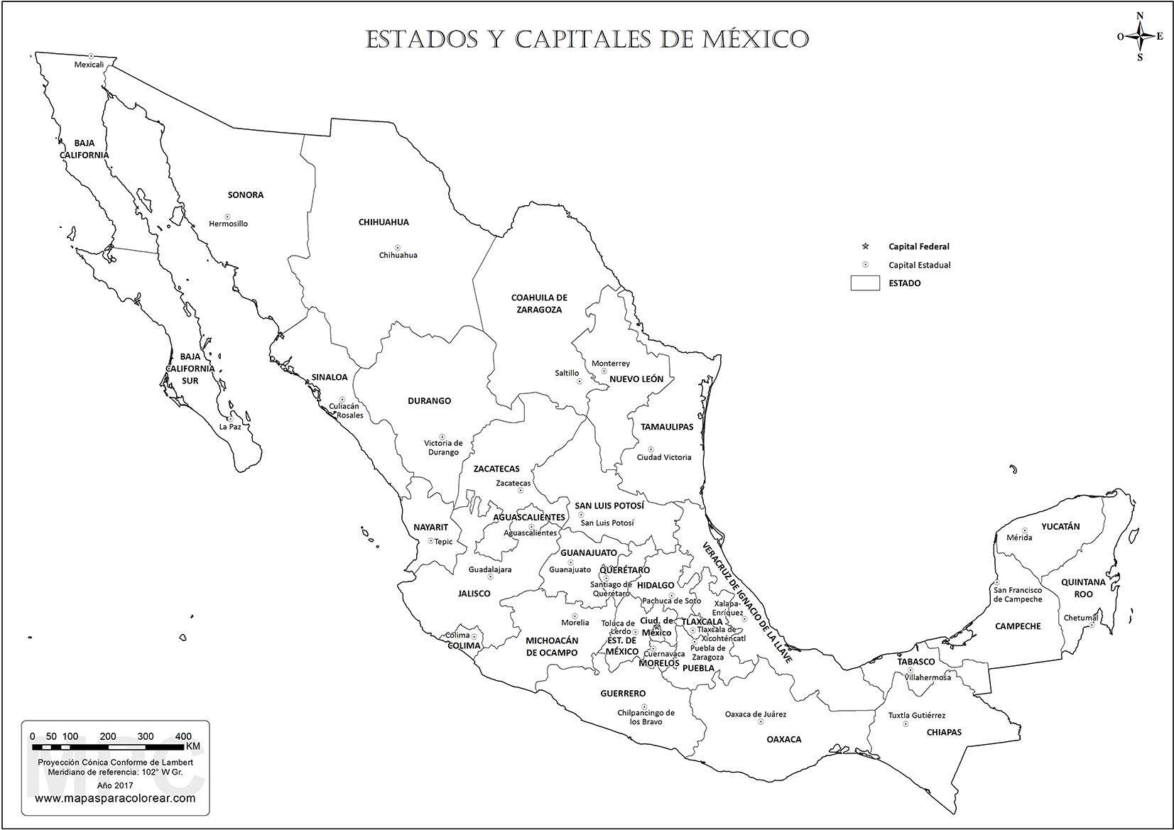 Mapas de Mxico para colorear