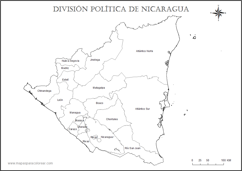 Mapas de Nicaragua para colorear