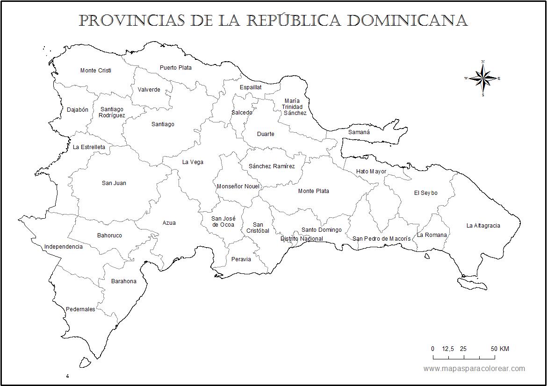 Mapas de Repblica Dominicana para colorear
