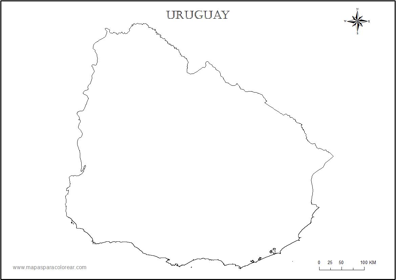 Mapas de Uruguay para colorear