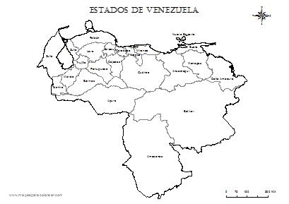 Mapa de venezuela con sus estados y capitales para colorear - Imagui