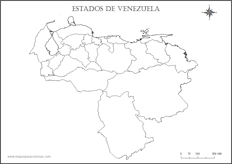 Mapas de Venezuela para colorear